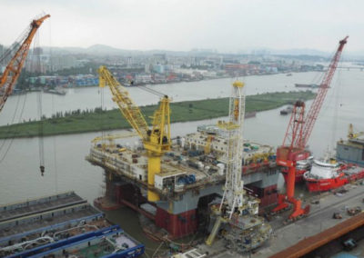 Offshore Oil Rig docked before delivery