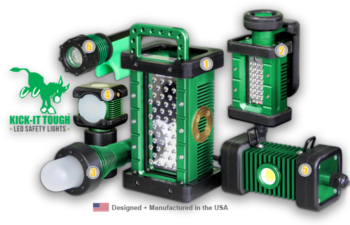 KICK-IT TOUGH™ LED Safety Lights, kick-it tough, LED, safety lights, portable LED work lights, explosion proof, ordinary location, abrasive blast, lighting, The BRICK, The BRICKette, The STRIKER, BODYLight, The 3475