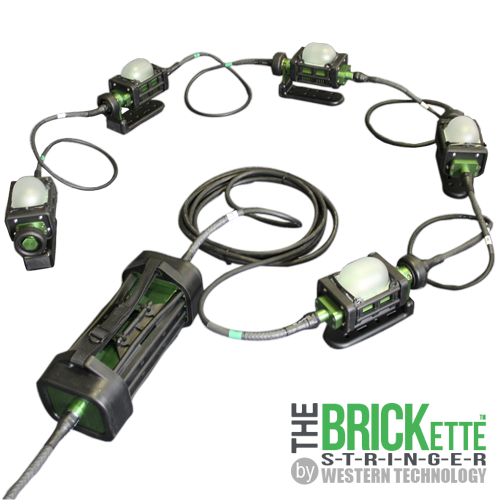 string light, stringer, The BRICKette™, brickette, 2106, LED, portable, work light, light heads, rentals