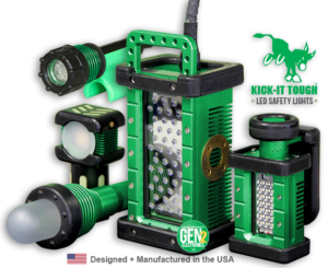 KICK-IT TOUGH™, kick-it tough, LED Safety Lights, portable LED work lights, designed and manufactured in the USA