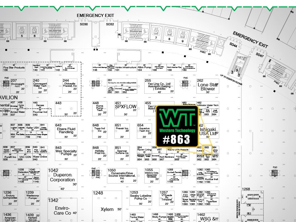 WEFTEC 2017, exhibitor, booth #863, chicago, water quality event, expo, conference, Western Technology, floor plans