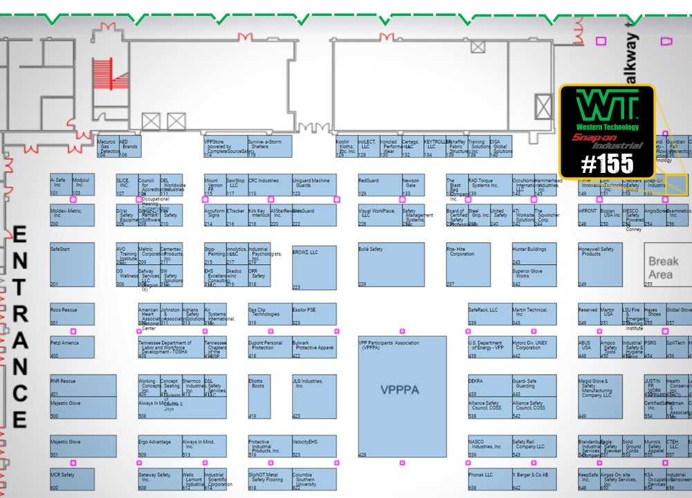 2018 VPPPA Safety Symposium, floor plans, exhibit hall, exhibitor, booth #155, Snap-on industrial