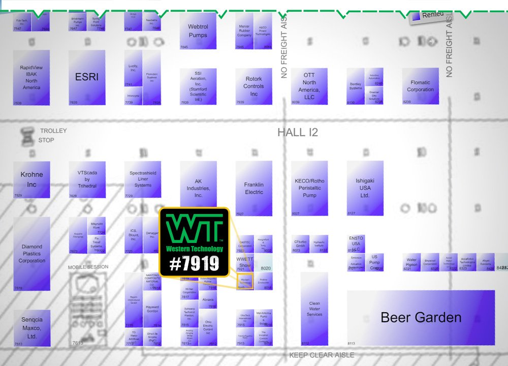 weftec 2018, weftec, 2018, exhibitor, booth #7919, new orleans, LA, the water quality event, Western Technology, floor plans